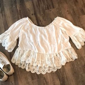 White Off-the-Should Top